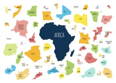 Väggdekor Map of Africa with separated countries.