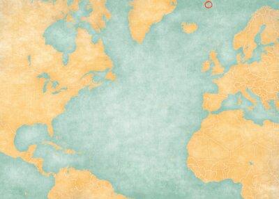 Väggdekor Map of North Atlantic Ocean - Jan Mayen