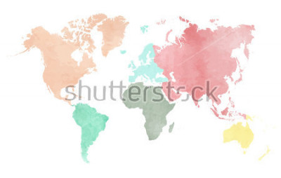 Väggdekor Map of the continental world in watercolor in six different colors