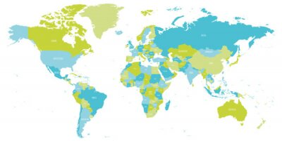 Väggdekor Map of World in shades of green and blue. High detail political map with country names. Vector illustration