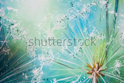 Väggdekor maskros på blå bakgrund