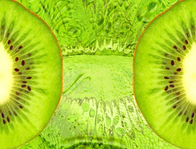 Väggdekor Mat bakgrund med gröna kiwi skivor.