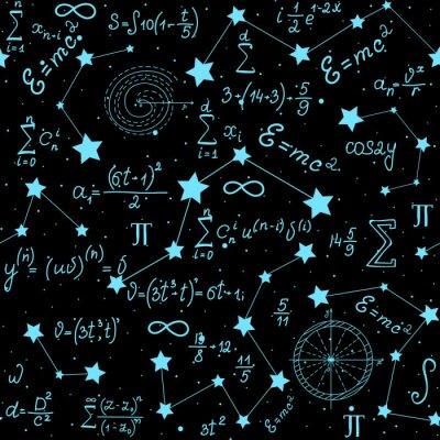 Väggdekor Matematisk astrofysisk vektor sömlös mönster med formler, figurer och beräkningar handskriven på bakgrunden av stjärnor. Vetenskapligt utrymme oändlig struktur