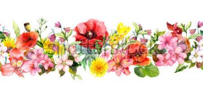 Väggdekor Meadow flowers, wild grasses, leaves. Repeating summer horizontal border. Floral watercolor