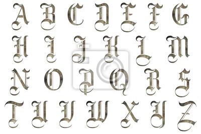 Väggdekor medeltids gotisk alfabetet samling