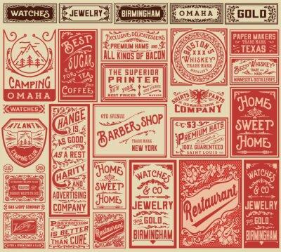 Väggdekor Mega pack retro reklam design och etiketter - vektor illust