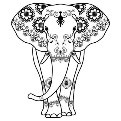 Väggdekor Mehndi tatuering elefant inredda i indisk stil