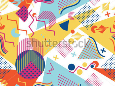 Väggdekor Memphis seamless pattern. Geometric elements memphis in the style of 80's. Vector illustration.