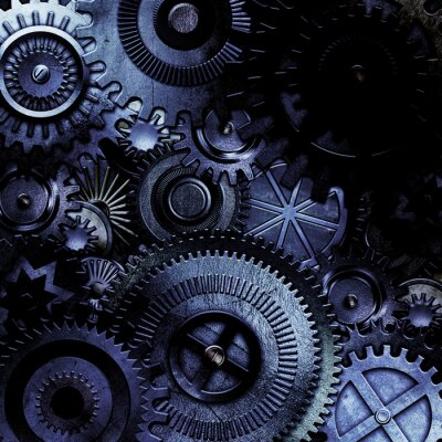 Väggdekor metalliska kugghjul bakgrund