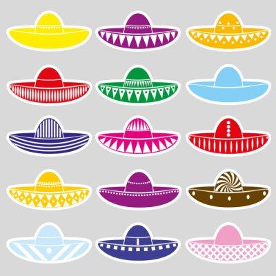 Väggdekor Mexico sombrero hatt variationer etiketter som eps10