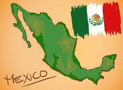 Väggdekor Mexiko Karta och National Flag Vector