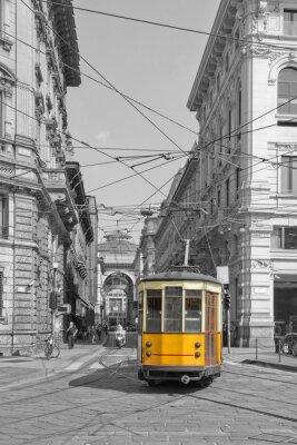 Väggdekor Milano con spårvagn i piazza Cordusio e sfondo Galleria Vittorio Emanuele lombardy italien