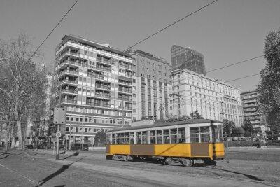 Väggdekor milano e spårvagn i Lombardiet Italia Milano och tåg i Milano