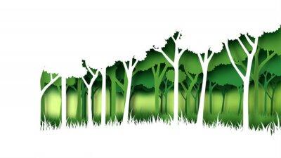 Väggdekor Miljögrön naturskogbakgrundsmall Skogplantage med ekologiskt och idérikt idé för koncept för papper för miljöbevarande idérikt. Vektorillustration.