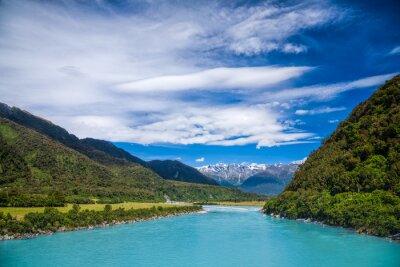 Väggdekor Milky blått glaciärvatten av Whataroa River i Nya Zeeland
