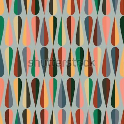 Väggdekor Mitt i århundradet retro stil sömlösa mönster med droppformer i olika färgtoner, abstrakt upprepande bakgrund för alla webb- och utskriftsändamål.