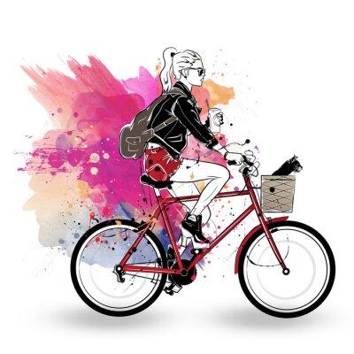 Väggdekor Modeflicka i skiss-stil på färgrik bakgrund.