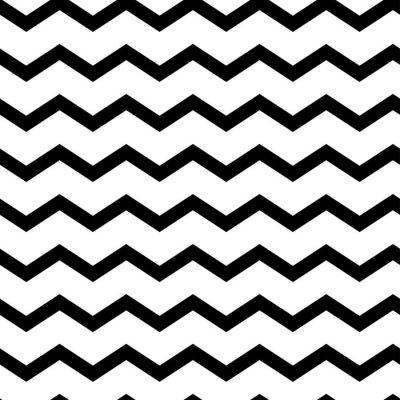 Väggdekor Modern geometric seamless pattern zig zag. Black waves isolated on white background. Classic striped retro background. Vector illustration