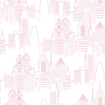 Väggdekor Modern New York city scape in pink colour. Girlish Superhero themed neutral seamless pattern. Vector doodle graphics. Perfect for little girl design like t-shirt textile fabric print birtday party