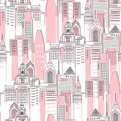 Väggdekor Modern New York city scape in pink colour. Girlish Superhero themed seamless pattern. Vector doodle graphics. Perfect for little girl design like t-shirt textile fabric print birtday party wrapping
