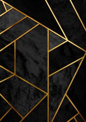 Väggdekor Modern och elegant abstrakt designaffisch med gyllene linjer och svart geometriskt mönster.