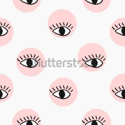 Väggdekor Modern sömlös modell med handritade ögon.