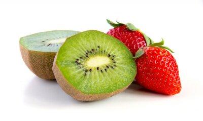 Väggdekor mogen och saftig kiwi och jordgubbar närbild