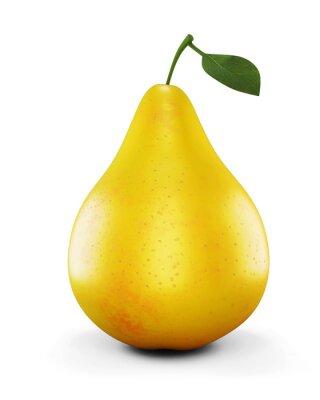 Väggdekor Mogna gula päron på vit bakgrund. 3d.