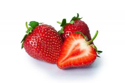 Väggdekor Mogna jordgubbar på vit bakgrund