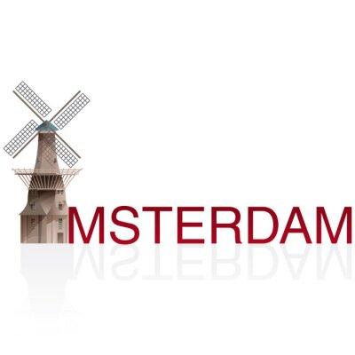 Väggdekor Molen De Gooyer, Amsterdam. Vektorer europeiska monumentals städer.