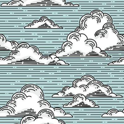 Väggdekor Moln seamless handritade illustration. vektor bakgrund