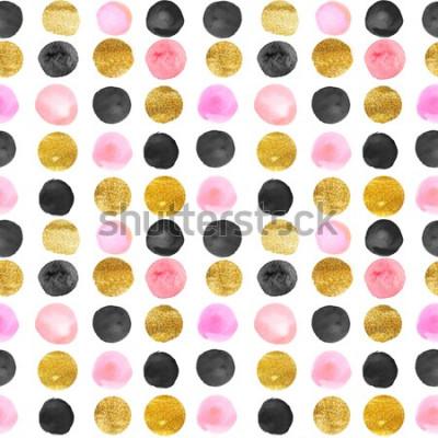 Väggdekor mönster av guld- och rosa prickar. akvarell handritad