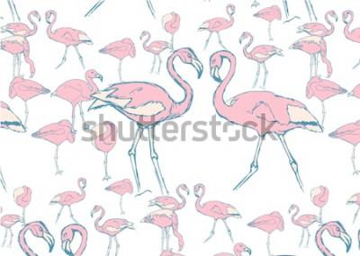 Väggdekor mönster med rosa flamingo i vattnet i olika poser och två flamingor med hals i form av ett hjärta