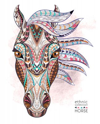 Väggdekor Mönstrad hästens huvud på grungebakgrund. Afrikansk / indiska / totem / tatuering design. Den kan användas för konstruktion av en t-shirt, väska, vykort, en affisch och så vidare.