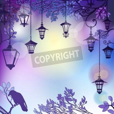Väggdekor Morgon bakgrund med trädgrenar och retro gatubelysning