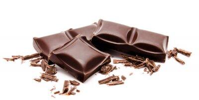 Väggdekor Mörka chokladkakor stack med smulor isolerad på en vit