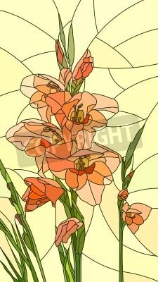 Väggdekor Mosaik med stora celler av gladiolus på gul.