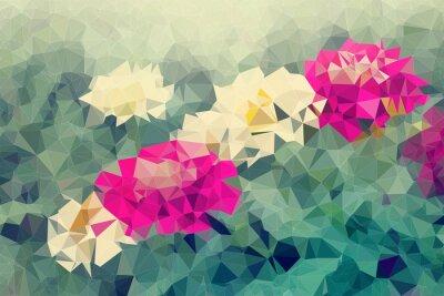 Väggdekor Mosaik och låg polygon bakgrund på blommor bakgrund, illustration