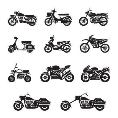 Väggdekor Motorcyklister, cyklister, svart och vit, silhuett