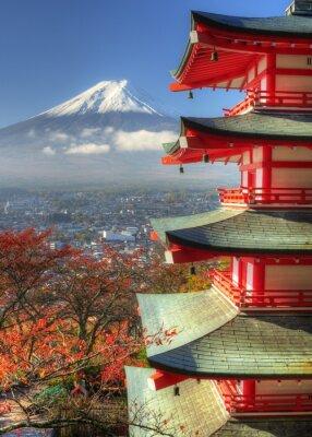Väggdekor Mt. Fuji och höstlöv på Arakura Sengen Shrine i Japan