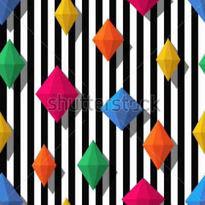 Väggdekor Multicolor diamonds, gems on black white stripes, seamless pattern. 3d vector shapes. Abstract universal background. Design for fashion textile print, wrapping paper, web background, package.