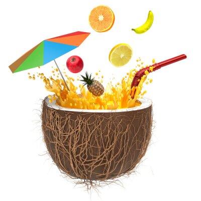 Väggdekor multifruit juice i kokosnöt med ett sugrör och spray