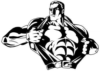 Väggdekor muskulär kroppsbyggare rips skjorta