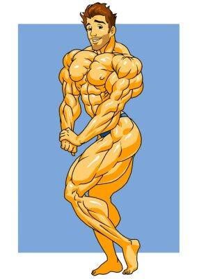 Väggdekor muskulös kroppsbyggare posering, illustration, färg, logotyp, isolerad på en vit