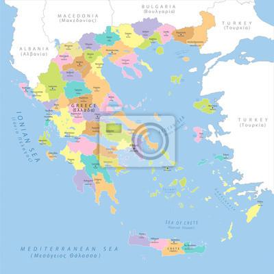 Väggdekor Mycket detaljerad politisk karta över Grekland, vektor.