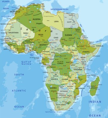 Väggdekor Mycket detaljerade redigerbar politiska kartan. Afrika.