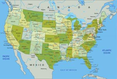 Väggdekor Mycket detaljerade redigerbara politiska kartan med separerade skikt. Usa.