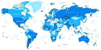 Väggdekor Mycket detaljerade vektor illustration av världens map.Borders, länder och städer.