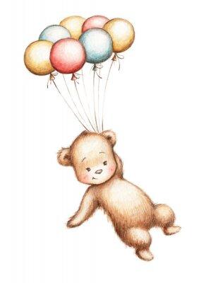 Väggdekor Nallebjörn med Ballonger