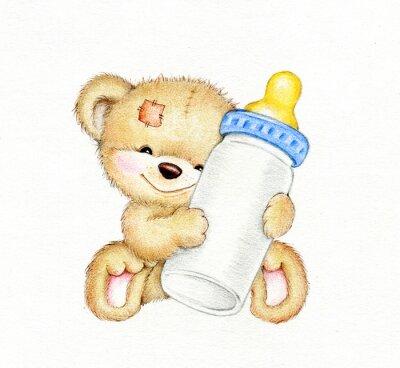 Väggdekor Nallebjörn med flaska mjölk